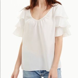 Club Monaco cream shirt with frilled sleeves
